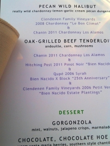 Jim Clendenen tribute menu